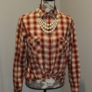 Jeweltone Plaid Ladies Western Shirt Rodeo M *Flaw